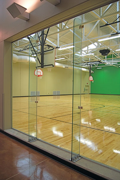 Movable Glass Wall System For Racquetball Courts