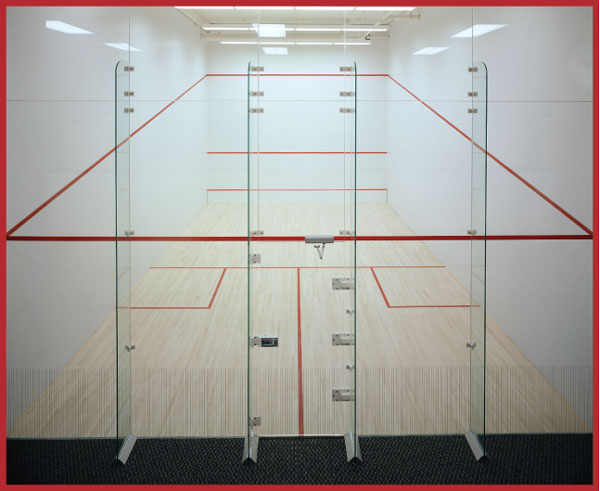 Movable glass wall system for racquetball courts for Average cost racquetball court