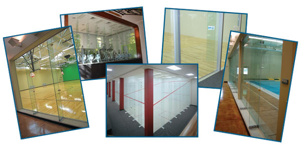 Racquetball court installation and construction of racquetball courts