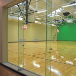 glass walls for athletic facility
