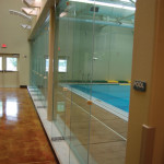 athletic gym court glass walls