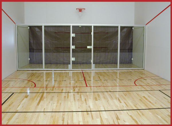 Movable glass walls for racquetball courts systems for Average cost racquetball court