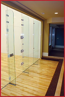 Racquetball court installation and construction building materials